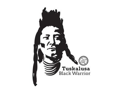 Tuskalusa black warrior tuscaloosa tuskalusa native american choctaw creek alabama river bwdc illustration mohawk