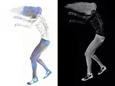 Soul + Spirit art realism falling graphite drawing painting mixed media