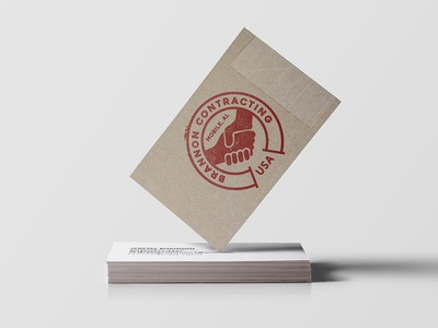 Brannon Contracting effect stamp tape box package packing handshake alabama mobile contractor business card logo