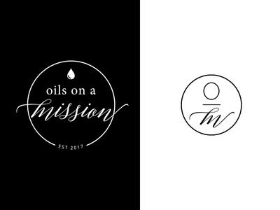 Oils on a Mission Logo illustration circle drop black  white black simple mission missions missionary essential oils logo