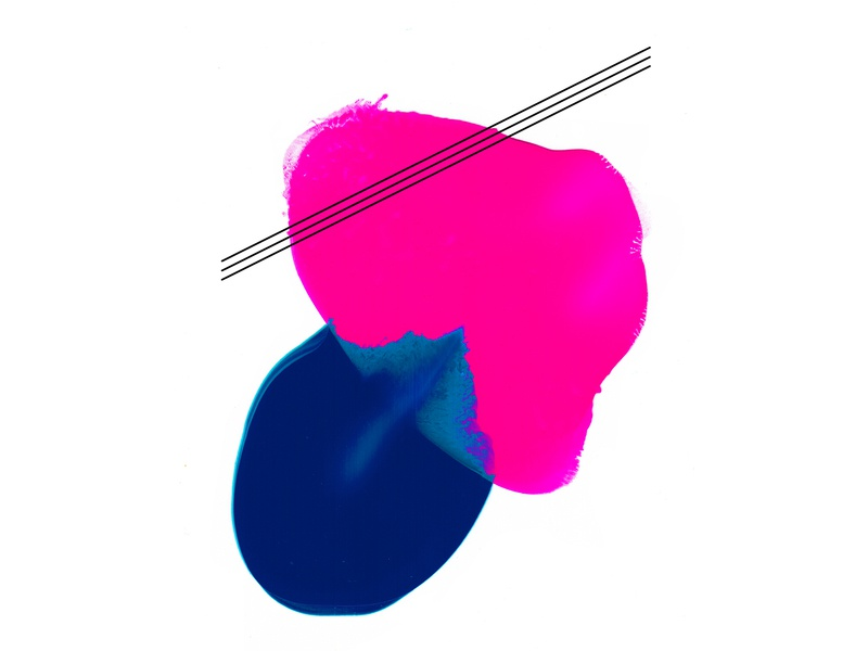 Smoosh Painting II vibrant fluid artwork geometric lines acrylic paint acrylic abstract blue pink