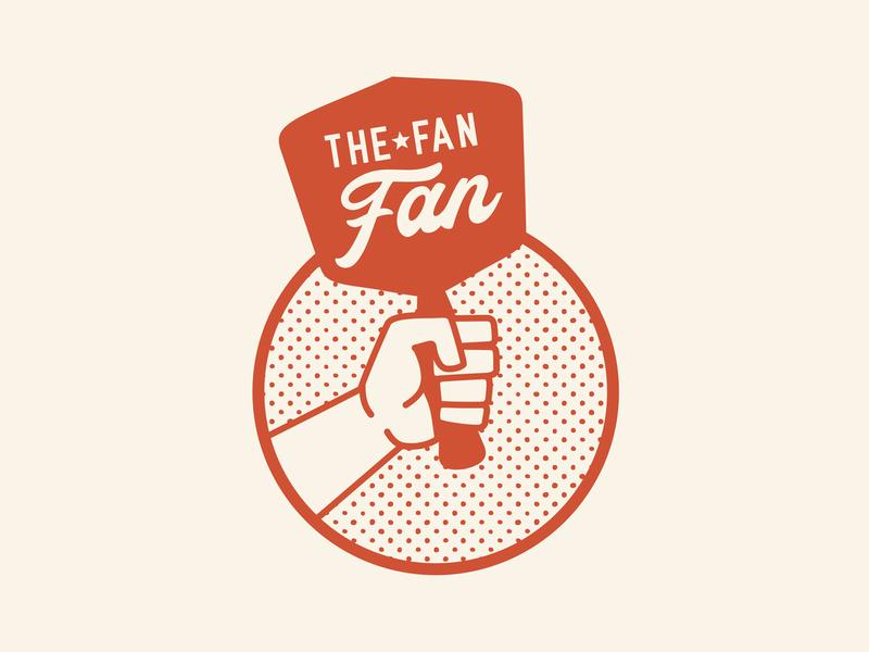 The Fan Fan dots star sports brand branding tan red orange vintage retro cool hold grip hand fan badge logo
