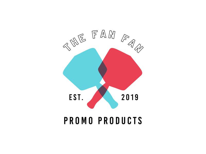 The Fan Fan - Unselected Logo sports vintage retro badge branding promo overlap overlay blue red fan unused logo