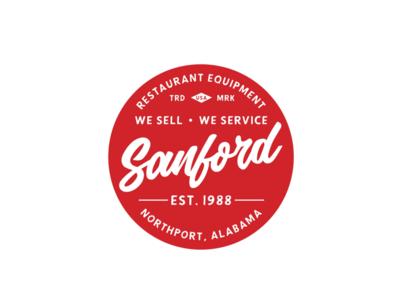 Sanford Restaurant Equipment usa equipment restaurant script red circle badge branding brand logo alabama northport