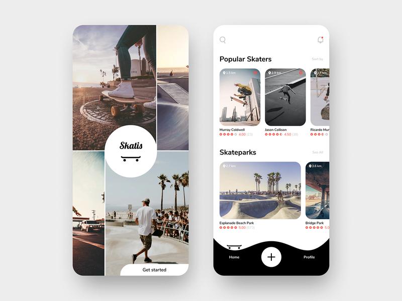 Skater App Design - Skatis ios social community trend photography clean social network skateboard product design logo illustration ux ui simple mobile app minimal design branding app design app
