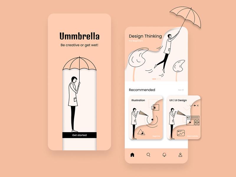 Course App Design - Ummbrella creative ios umbrella clean course app illustration ux ui simple mobile app minimal design branding app design app