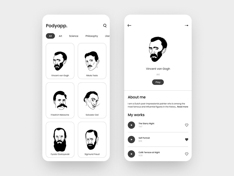 Podcast App Design - Podyapp playlist black  white creative vector art clean podcast app podcast product design logo illustration ux ui simple mobile app minimal design branding app design app