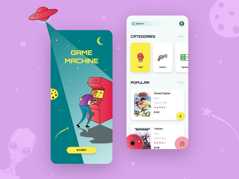 Retro Game Store - App Design retro cartoon alien space games game store icon vector creative clean product design illustration ux ui mobile app design branding app design app