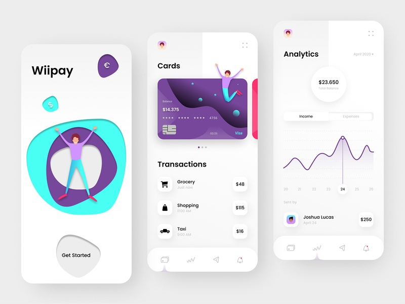 Banking App Design - Wiipay transaction branding payment investment ux ui ios design product design colorful minimal clean fintech finance app wallet app money app debit card credit card banking app banking