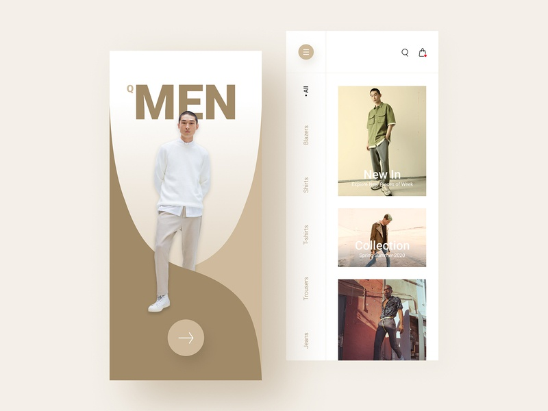 Fashion Store Design | QMEN style application store shopping clothing trend styling fashion store fashion ecommerce app creative simple clean product design app design minimal ux ui design branding