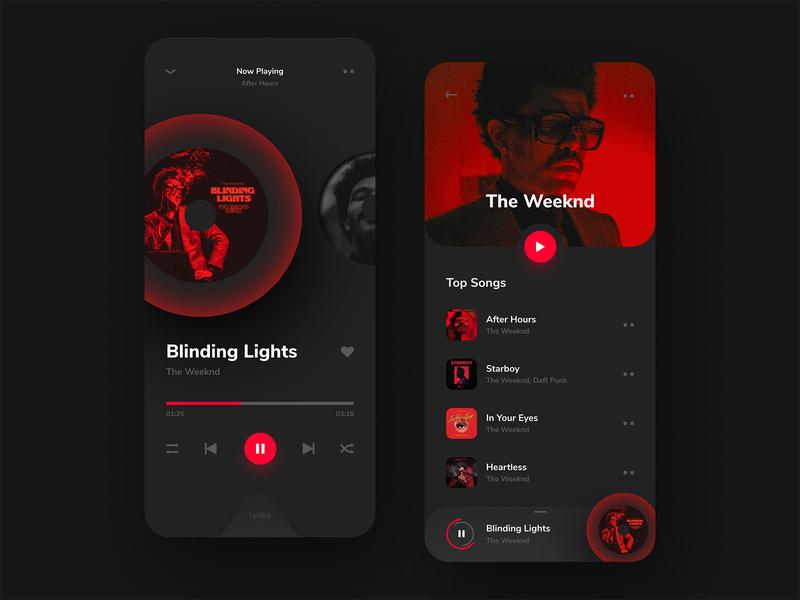 Music Player App | Dark minimal playlist song artist concept music interface clean ios red dark music player music app creative mobile app product design app design ux ui design