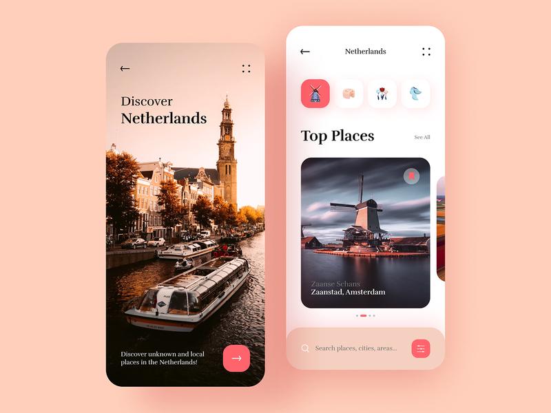 Travel App Design ui kit icons log in trip interface pink travelling travel app creative ios simple illustration clean product design app design minimal branding ux ui design