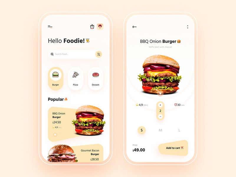 Food Delivery App Design user interface online shop order food delivery food app burgers cart payment ecommerce icon ios illustration creative mobile app clean product design app design ux ui design