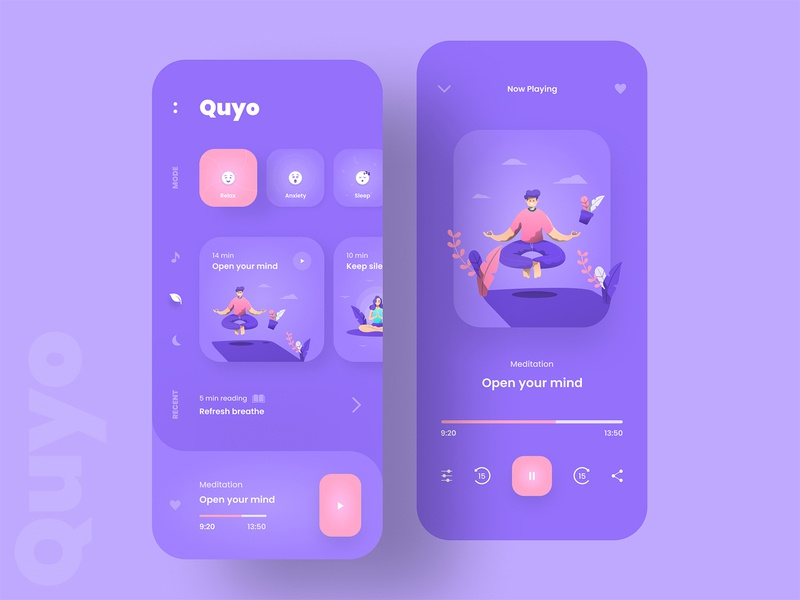Meditation App Design | Quyo music player music app health app fitness yoga app yoga meditation app meditation app ios illustration branding mobile app clean minimal app design product design ux ui design