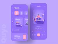Meditation App Design | Quyo music player music app health app fitness yoga app yoga meditation app meditation app ios illustration branding mobile app clean minimal app design product design ux ui design