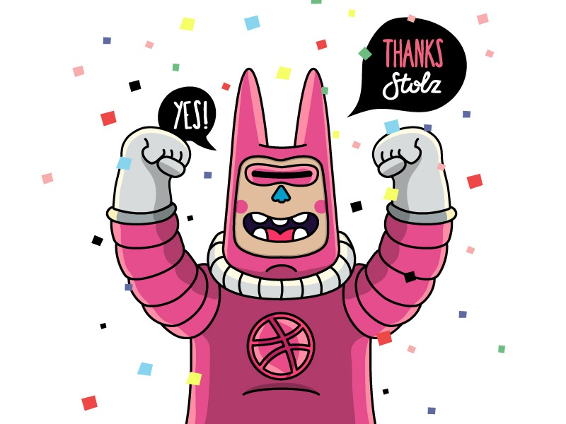 Thanks Dribbble thanks debuts confetti pink babitas illustration space character design