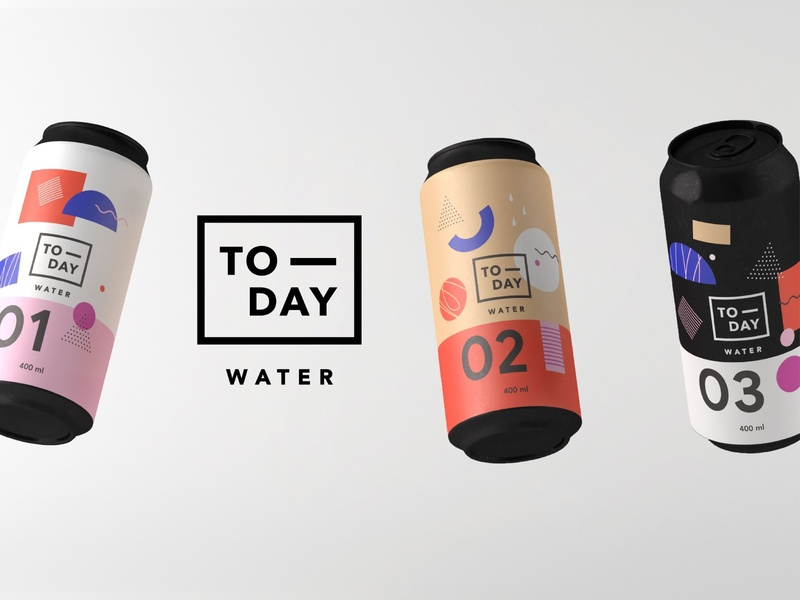 TODAY Water - Branding & Packaging design graphic palette illustration logo 3d millennial mood memphis minimal premium can water today branding packaging