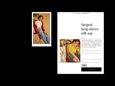 ULYANA LINЁVA online store phone tablet item store e-shop typography ux ulyanalineva webdesign design e-commerce ui