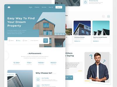 Real Estate Landing Page website landingpage realestate interface uxdesign ux uiux uidesign ui design