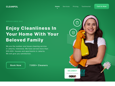 Cleaning Services Landing Page figma cleaning interface uxdesign ux uiux uidesign ui design