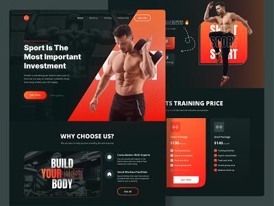 Workout Landing Page red sports clean darkmode sport gym workout landingpage interface uxdesign ux uiux uidesign ui design