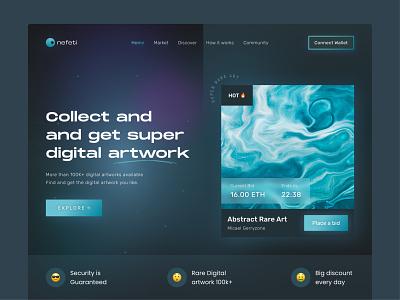 NFT Header Web art graphic design landingpage header clean darkmode interface uxdesign ux uiux uidesign ui design