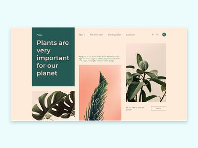 Plants website design concept plants website minimal web ux ui design