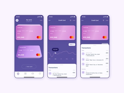 Online Banking - Mobile App concept uiuxdesign designconcept uxdesign ui  ux online cards ui cards finance banking app banking minimal app ux concept uidesign ui design