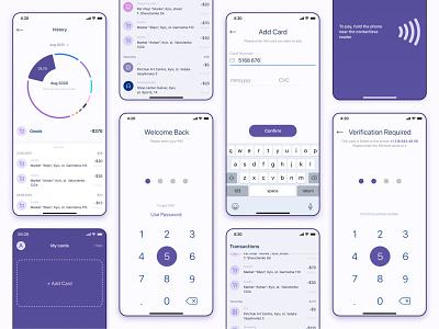 Screens Online banking - Mobile App concept ukraine uidesigner uxdesign uiux finance diagrams history verification paypas cards banking app banking app minimal ux concept uidesign ui design