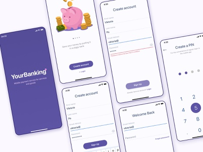 Sign Up and Login screens - online banking app concept uiuxdesign uiux uxdesign banking app banking app minimal ux concept uidesign ui design