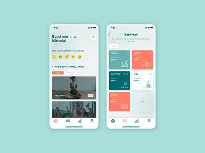 Training mobile app design concept feelings sport fitness swimming training app training uiux uxdesign app minimal ux concept uidesign ui design