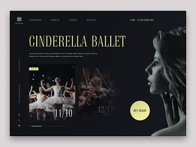 Theatre website design concept dark ui dark art orchestra theatres ballet theatre beauty uxdesign uiux minimal website web concept uidesign ui design