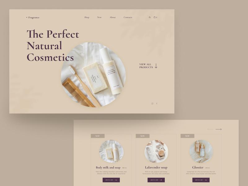 Online store of natural cosmetics (concept) natural cosmetics cosmetics natural beauty uiux minimal website web concept uidesign ui design