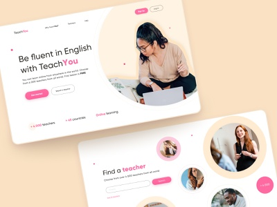 Online school website design concept english learning platform learning english minimal website web concept uidesign ui design