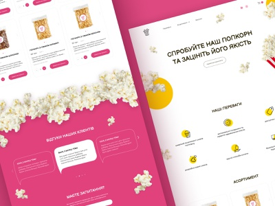Design website of popcorn designer ukraine corn popcorn delicious food chocolate food uxdesign uiux ux minimal website web concept uidesign ui design