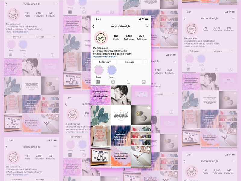 Recontained Instagram Mock-Up social media design beauty instagram social media concept logo branding design
