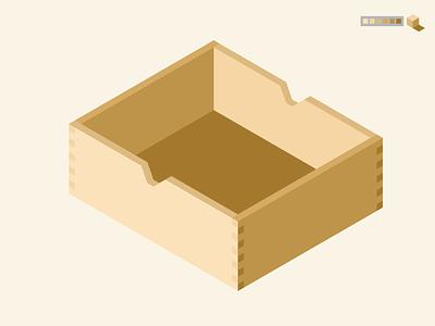 Isometric Wooden Drawer isometric illustration wood joints cube shades wood isometric