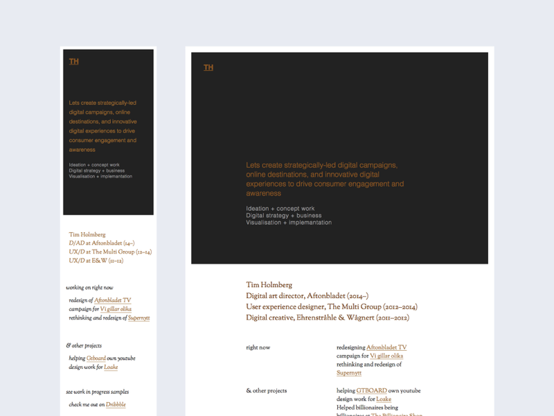 WIP – Personal online presentation portfolio typography responsive grid helvetica sorts mill goudy