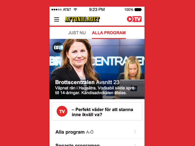 Upcoming look of Aftonbladet TV library programs flat responsive navigation arrow browsing tv player video clip
