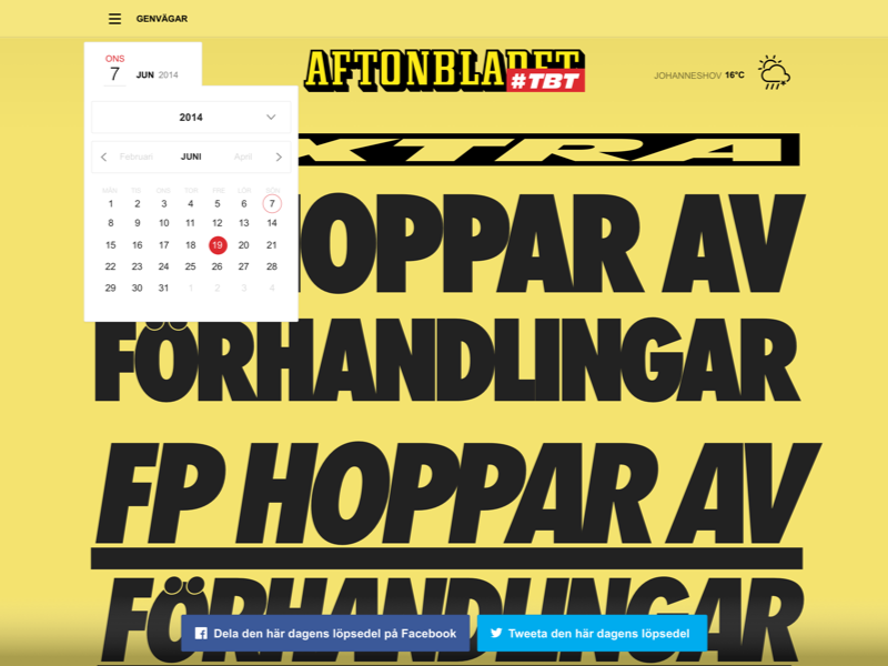 Aftonbladet TBT twitter facebook social publishing typography styleguide ui tablet news campaign flat clean