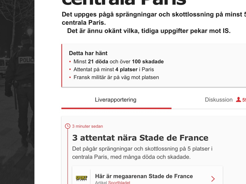 'Aftonbladet Live' – Breaking news events editorial article news stream live timeline feed livefeed