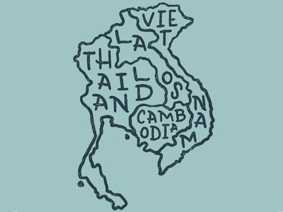 Hand-lettered SE Asia map