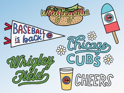 Cubs/Wrigleyville Snapchat Filters graphicdesign snapchat sports mlb wrigleyville cubs chicago handdrawn illustration
