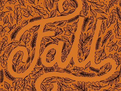 FALL leaves typography design hand lettering draw leaves plants illustration handdrawn type lettering autumn fall