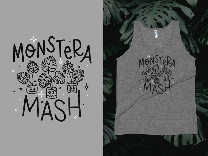 Monstera Mash monster mash monsters halloween lettering hand lettering design hand drawn typography type handdrawn handlettering illustration apparel plants monstera