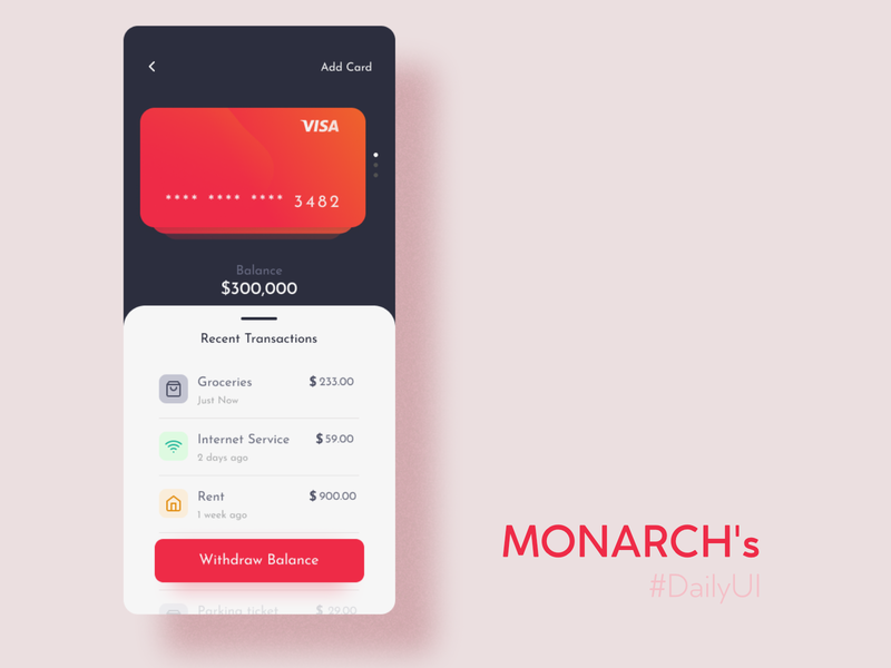 wallet app monarch figma mobile ui walletapp