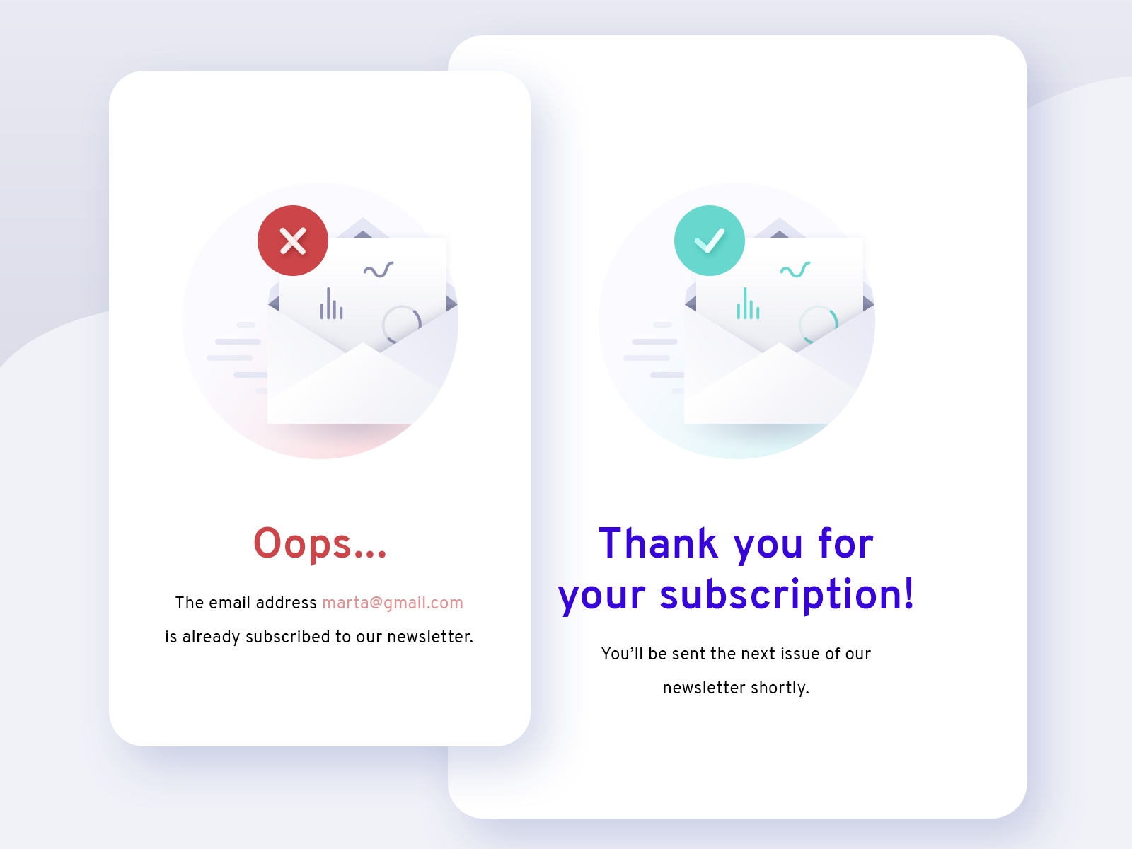 Newsletter Subscription Confirmation illustration newsletter oops thanks email confirmation subscription empty state
