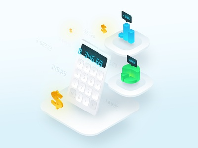 Calculation Isometric Illustration