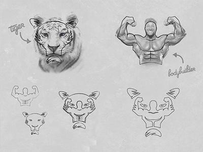 Logo Tiger Concept logo concept mascot animal bodybuilding gym fitness tiger bodybuilder