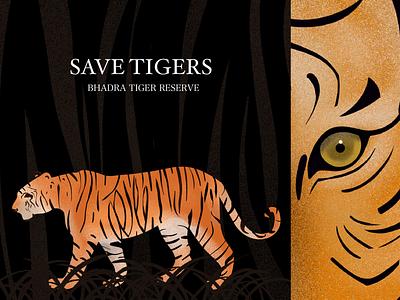Save tigers save tigers wildlife tiger procreate design illustration